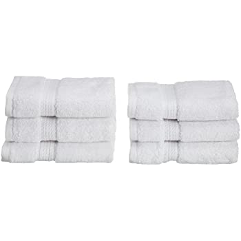 "Superior 900 GSM Luxury Bathroom Face Towels, Made of 100% Premium Long-Staple Combed Cotton, Set of 6 Hotel & Spa Quality Washcloths - White, 13"" x 13"" each"