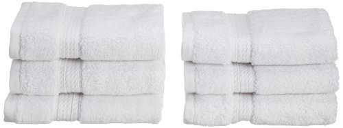 Superior 900 GSM Luxury Bathroom Face Towels, Made of 100% Premium Long-Staple Combed Cotton, Set of 6 Hotel & Spa Quality Washcloths - White, 13