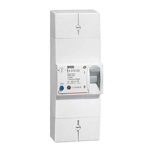 Legrand LEG401003 Disjoncteur de branchement 2 pô les 15/45 A 500 mA Type S Protection tableau electrique coupe circuit sectionneur contacteur inter diff interrupteur differentiel declencheur telerupteur parafoudre inter horaire sonnerie minuterie
