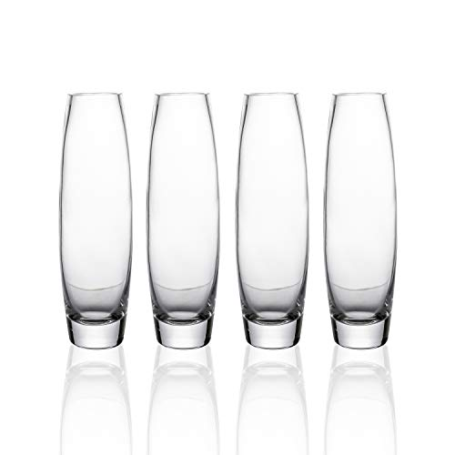 (Whole Housewares Clear Glass Bud Vase Set of 4,Big Size Dia 2.5