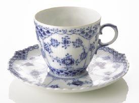 Royal Copenhagen Blue Fluted Full Lace Espresso Cup & Saucer (Blue Royal Espresso Cup)