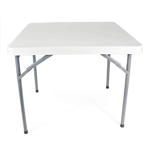 Folding Square Dining Table - Modern-Depo Portable Square Folding Table 35-inch HDPE Computer Desk, Garden, Dining Table - White