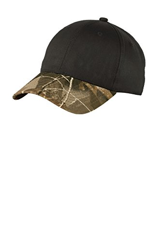Port Authority Twill Cap with Camouflage Brim. C931 Black/Realtree Hardwoods OSFA