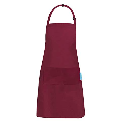 esafio Cooking Apron Adults Cotton Polyester Kitchen Apron with Adjustable Neck Belt and 2 Large Pockets for Chef Baking Gardening Restaurant BBQ for Men and Women, Red