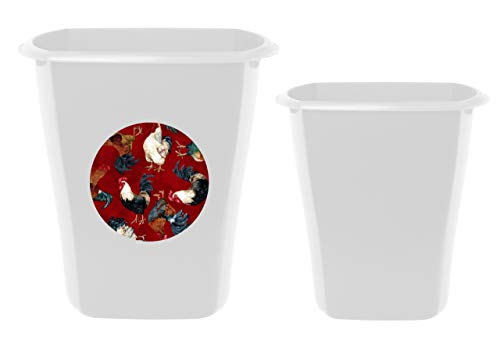2 Piece Set - 5.5 White Plastic Wastebasket Trash Can Featuring Your Choice of an Animal Themed Vinyl Decal - Free 3 Gallon Wastebasket and Free Trash Bags Included (Red Roosters)