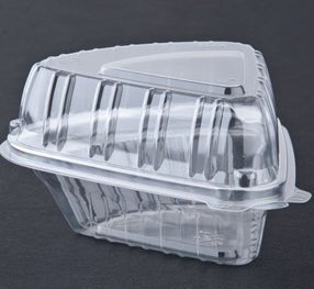 Cheesecake Containers Plastic Clear Wedged Hinged -25 sets