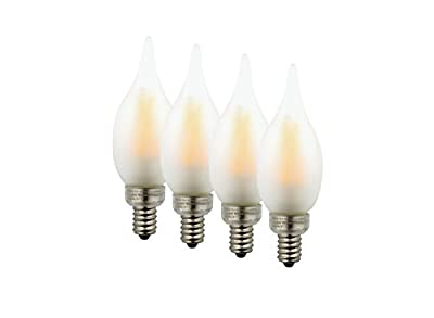 Truth LED Candelabra Filament 3.5 watt (40 watt Incandescent) Flame Tip, Dimmable, Indoor/Outdoor Frosted Glass Light Bulb, Warm Candle Light (2200K), 4-pack