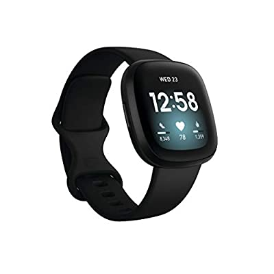 Fitbit Versa 3 Health & Fitness Smartwatch with GPS, 24/7 Heart Rate, Alexa Built-in, 6+ Days Battery, Black/Black, One…