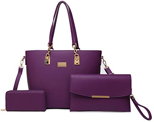 Women Tote Handbag + Envelopes + Wallet 3 Piece Set Bag Shoulder Bag for Work