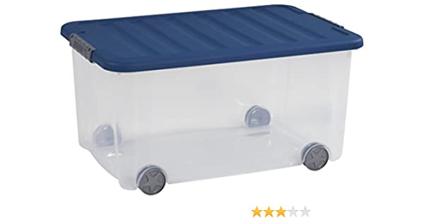 Curver – Caja multiusos Scotti 50L, plástico, transparente/azul, 35 x 25 x 10 cm: Amazon.es: Hogar
