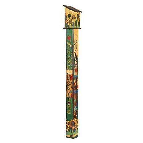 (Studio M Sing Out Loud Birdhouse Art Pole Wood-Grain Welcome Functional, Weather-Proof with Cleanout, Hardware Included, Easy Install, Made in USA, 6 ft Tall, Universal 1.5 Inch Entry)