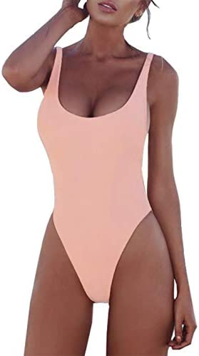 PRETTYGARDEN Women's Simple Low Cut Sides Wide Straps High Legs One-Piece Swimsuit