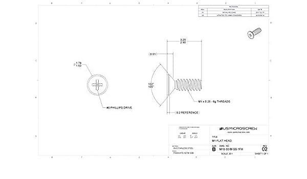 M10-30-M-SS-1FH US Micro Screw 100 Pcs M1-0.25 X 3mm Machine Screw Stainless Steel 100 deg Flat Head Phillips Drive