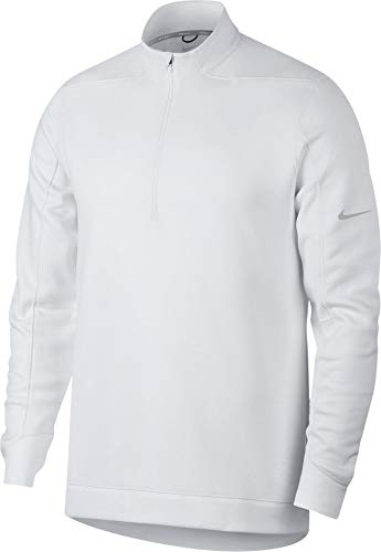 (NIKE Therma Repel Top Half Zip OLC Golf Pullover 2018 White/Flat Silver Small)