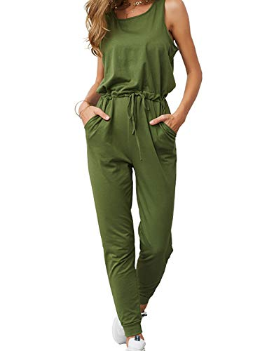 KIRUNDO Women's 2019 Summer Solid Casual Sleeveless Drawstring Waist Long Pants Rompers Jumpsuits with Pockets by...