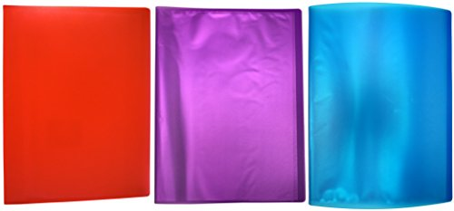 (Set of 3 Presentation Books! 3 Assorted Colors - Page Protectors - 9.25