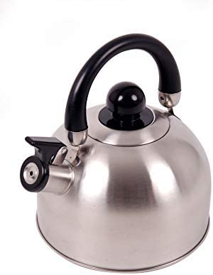 Tetera de silbato de acero inoxidable de 2,5 Litros. Hervidor de agua con silbido, apto para hornillo, fogon OCK-KET25-D Tetera silbante con tapa