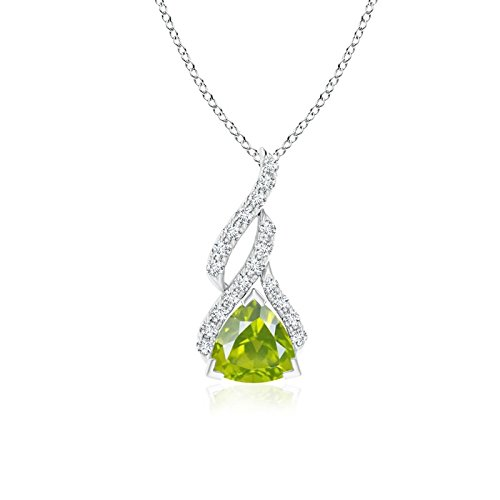 (Trillion Peridot Solitaire Pendant with Diamond Swirl in 14K White Gold (6mm Peridot))