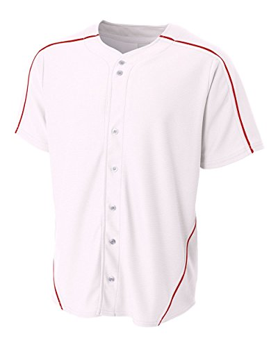 White Jersey with Red Piping Adult Large (Blank) Full-Button Baseball Wicking - Piping Softball Jersey