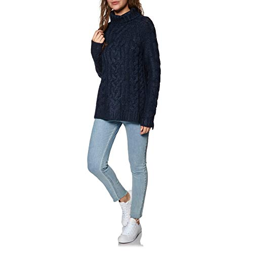 French Knit Jessie Oversized Joules Jumper Navy Womens Cable Cosy xP0I7Tw
