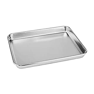 Rykey Stainless Steel Compact Toaster Oven Pan Tray Ovenware Professional, Heavy Duty & Healthy, Deep Edge, Warp Resistant Nonstick Baking Pan 10.4''x8.1''x1'', Silvery