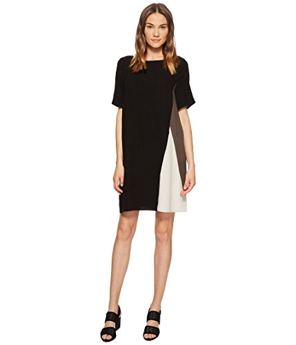 Eileen Fisher Silk Georgette Colorblock S/S Dress in Black (X-Large)
