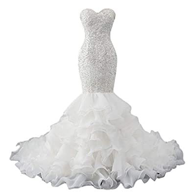 Tsbridal Mermaid Wedding Dress Beaded Sweetheart Bride Dresses