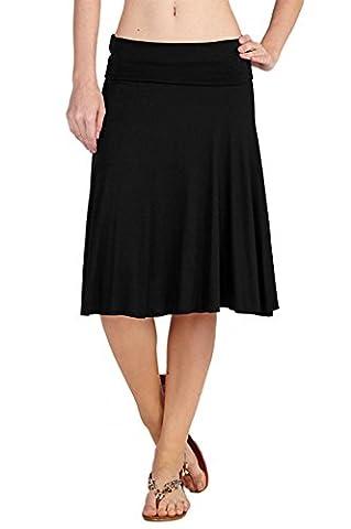 12 Ami Solid Basic Fold-Over Stretch Midi Short Skirt Black Large (Midi Skirt Black)