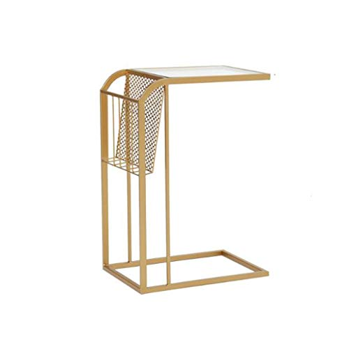 L-Life End Tables Side Table C-Shaped Wrought Iron Storage Small Side Table, Simple Leisure Coffee Table Household Bedroom Living Room Reading Table (Color : Golden)