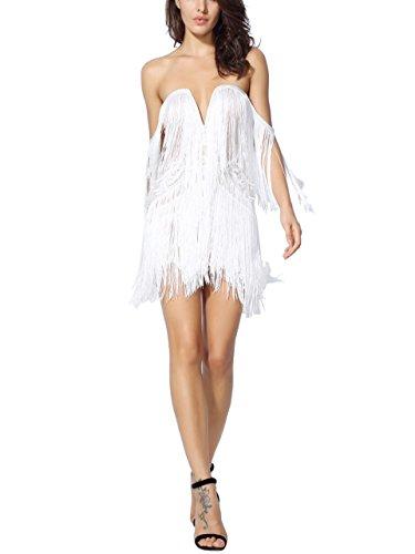 Women's V Neck Strapless Off the Shoulder Tassel Mini Bodycon Bandage Dress