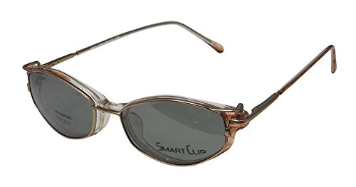 SmartClip 426 Womens/Ladies Cat Eye Full-rim Polarized Lenses By Polaroid Sunglass Lens Clip-Ons Spring Hinges Eyeglasses/Eyewear (51-16-135, Clear/Brown / Gold) by SmartClip
