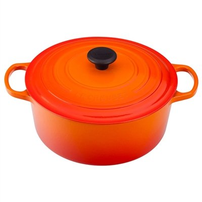 - Enameled Cast Iron Round French Oven Color: Flame, Size: 7.25-qt.