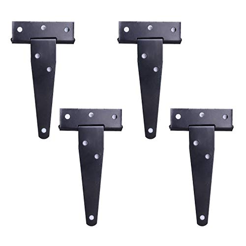 4Pack 4 Inch T Strap Light Duty Shed Door Hinges - Black Barn Door Gates Tee Hinge Wrought Hardware Iron