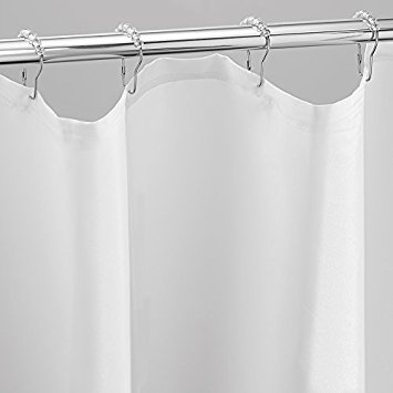 MDesign Mildew Free Waterproof Fabric Shower Curtain Liner With 18 Rings 108quot