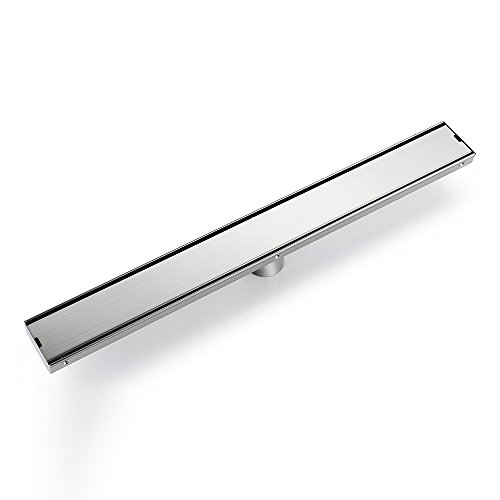 DESFAU Rectangular Linear Shower Drain with Tile insert Grate,32-Inch Brushed Nickel Shower Drains,Bathroom Floor Drain Strainer Stainless Steel Linear Drain,Shower Floor Drains with Removable Cover