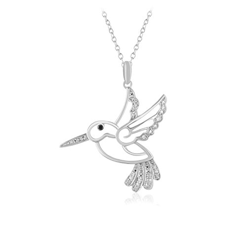 Carats For You 925 Sterling Silver 0.08ct Brilliant Round Genuine Real Natural Diamonds Humming Bird Necklace Pendant with 18 inch chain for women