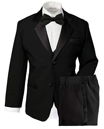 Spring Notion Boys' Classic Fit Tuxedo Set, No Tail 12 Black ()