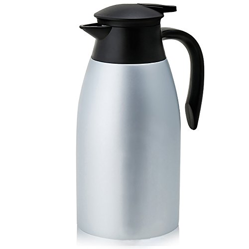 Thermal Carafe Stainless Steel Hot Coffee Thermos Pitcher Large Tea Jug Vacuum Insulated Milk Server-2L/68oz (Silver) Vacuum Insulated Coffee Server