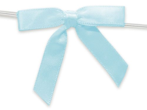 6ct. Pre-Tied LIGHT BLUE 2'' Satin GIFT BOWS Wire Ties Ready-to-Use 3/8'' Ribbon by shanna-bananapeels