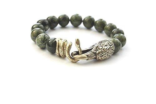 - Viking Bracelet Odin's Ravens Head Snake Bronze Stone Vintage Handmade (24)