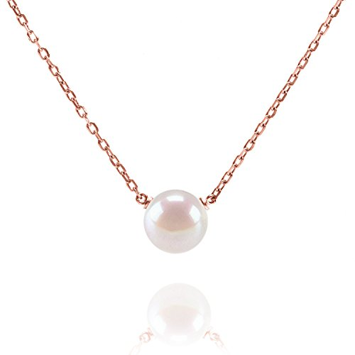 Cultured Pearl Rose Gold Necklace - PAVOI Handpicked AAA+ Freshwater Cultured Pearl Necklace Pendant - Rose