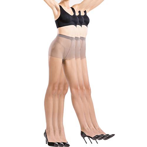 BONAS Pantyhose 3pairs Womens Silk Reflections Sheer Toe Silky Microfiber Oxygen Tights Grey