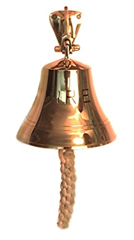 WinnerBrown Solid Brass Fire Bell with Knotted Lanyard, 6.8 inch