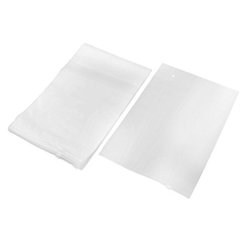 eDealMax EVA extrieur Vtements d'emballage Zippered Organisateur Sac de Rangement Voyage 35 x 25 cm 10pcs Blanc Clair