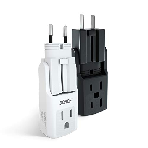 Travel Adapter 2 Pack, DOACE 10A Power Adapter with 3 AC Outlets, All in One International Plugs for UK, EU, AU, Asia 190+ Countries, Compact Size Wall Charger Adaptor for Cell Phone, Camera, Laptop