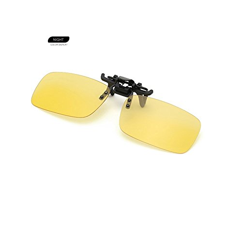 Clip on Sunglasses Flip Up Polarized Sunglasses Eyeglass by AUUS, Frameless Rectangle lens UV400 Anti Glare Night Vision Glasses for Driving Fishing Cycling Walking Outdoor[Nitht One]