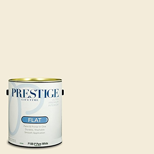 Prestige Paints Interior Paint and Primer In One, 1-Gallon, Flat,  Comparable Match of Benjamin Moore Linen White (Linen White Touch Up Paint)