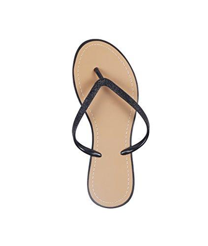 KRISP Sandalias Verano Mujer Chanclas Zapatos Flip Flop Chancletas Brillantes Negro