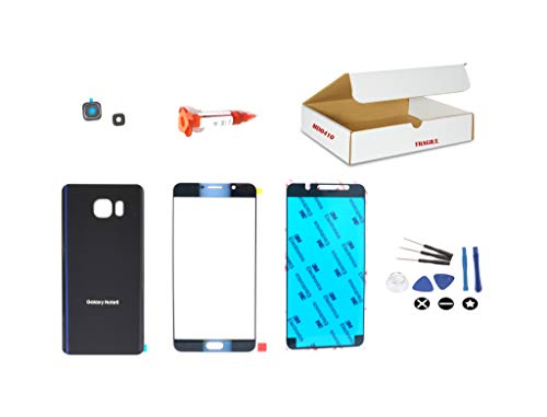(md0410) Black Sapphire Blue Front Outer Glass Lens + Back Cover + Camera Lens Replacement Compatible for Samsung Galaxy Note 5 N920 N9200 + Repair Kit (LCD Screen and Digitizer - Note Replacement Edge Screen