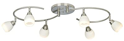 Pro Track White Glass Halogen 6-Light Mini S-Wave Track